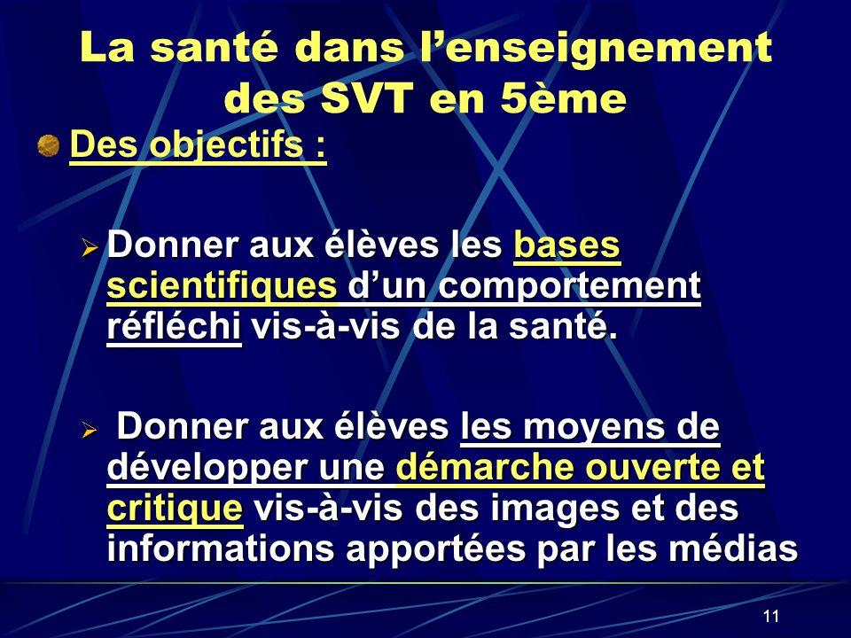 11 La santé dans lenseignement des SVT en 5ème Des objectifs : Donner aux élèves les bases scientifiques dun comportement réfléchi vis-à-vis de la san