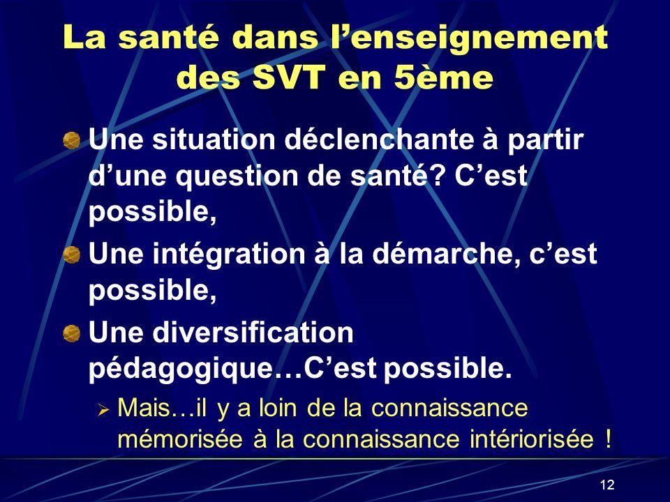 12 La santé dans lenseignement des SVT en 5ème Une situation déclenchante à partir dune question de santé? Cest possible, Une intégration à la démarch