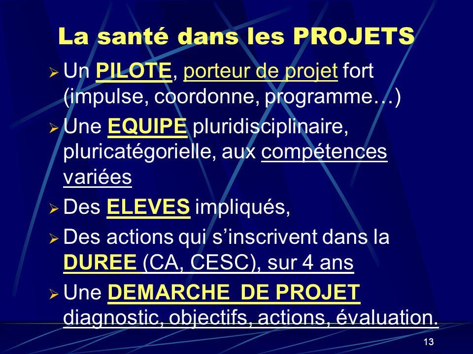 13 La santé dans les PROJETS Un PILOTE, porteur de projet fort (impulse, coordonne, programme…) Une EQUIPE pluridisciplinaire, pluricatégorielle, aux