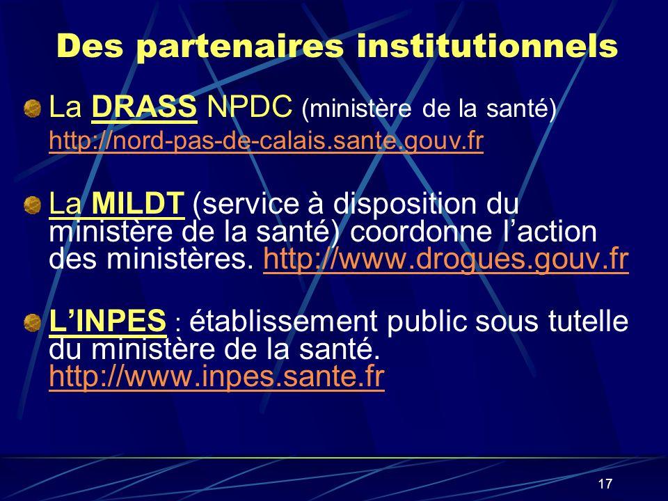 17 Des partenaires institutionnels La DRASS NPDC (ministère de la santé) http://nord-pas-de-calais.sante.gouv.fr http://nord-pas-de-calais.sante.gouv.