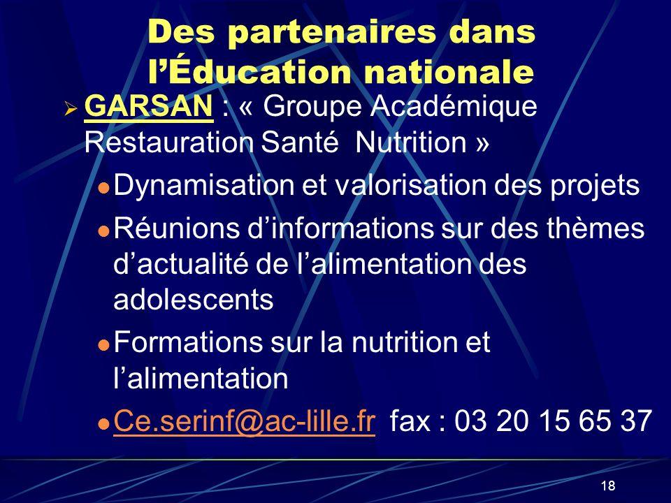 18 Des partenaires dans lÉducation nationale GARSAN : « Groupe Académique Restauration Santé Nutrition » Dynamisation et valorisation des projets Réun