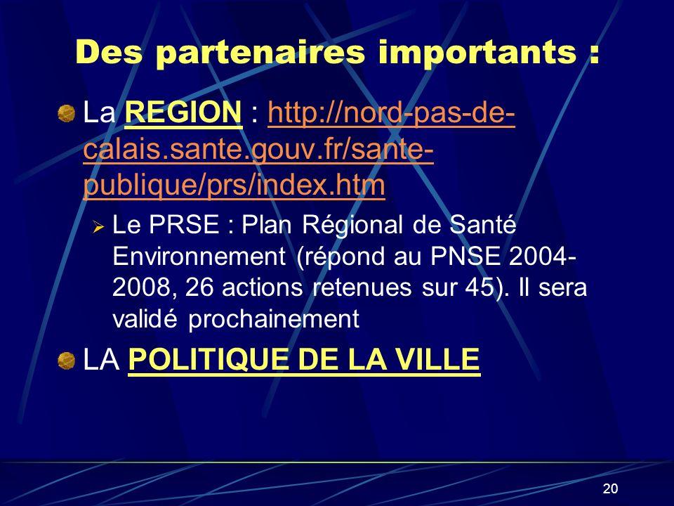 20 Des partenaires importants : La REGION : http://nord-pas-de- calais.sante.gouv.fr/sante- publique/prs/index.htmhttp://nord-pas-de- calais.sante.gou