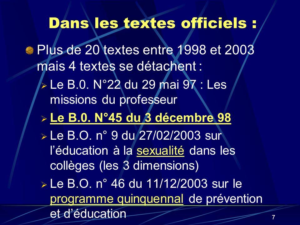 7 Dans les textes officiels : Plus de 20 textes entre 1998 et 2003 mais 4 textes se détachent : Le B.0. N°22 du 29 mai 97 : Les missions du professeur