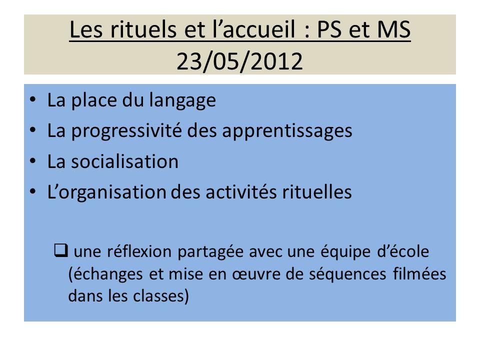 Les rituels et laccueil : PS et MS 23/05/2012 La place du langage La progressivité des apprentissages La socialisation Lorganisation des activités rit
