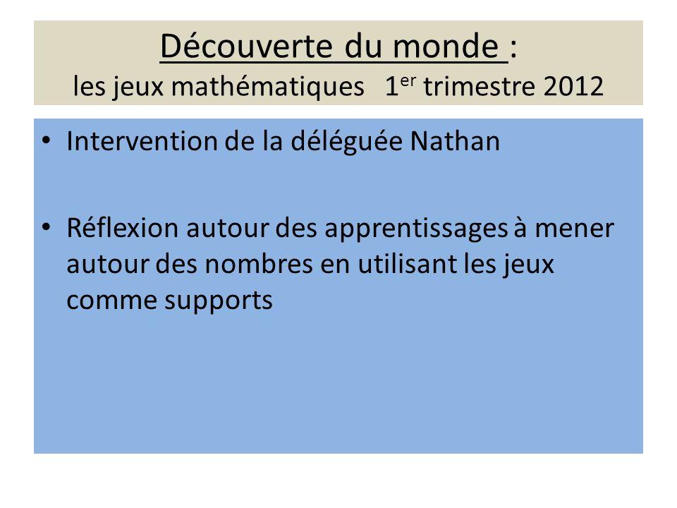 Découverte du monde : les jeux mathématiques 1 er trimestre 2012 Intervention de la déléguée Nathan Réflexion autour des apprentissages à mener autour