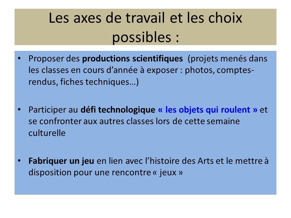 Les axes de travail et les choix possibles : Proposer des productions scientifiques (projets menés dans les classes en cours dannée à exposer : photos
