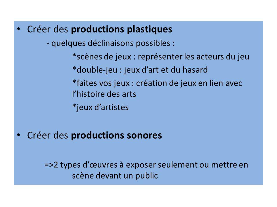 Créer des productions plastiques - quelques déclinaisons possibles : *scènes de jeux : représenter les acteurs du jeu *double-jeu : jeux dart et du ha