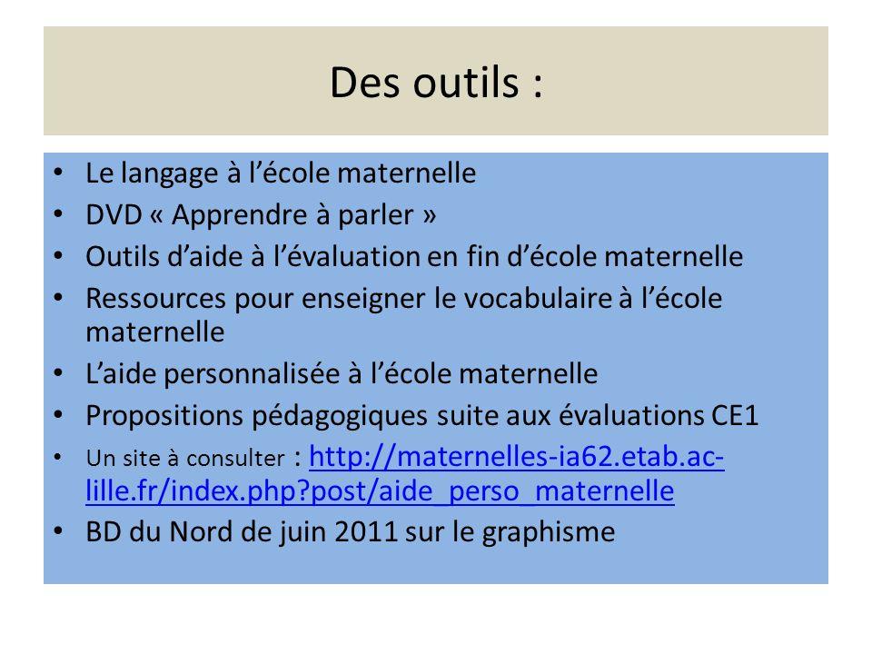 Des outils : Le langage à lécole maternelle DVD « Apprendre à parler » Outils daide à lévaluation en fin décole maternelle Ressources pour enseigner l