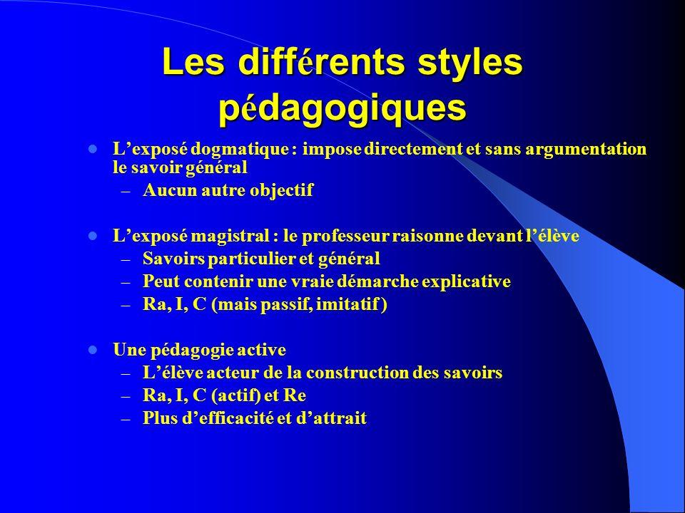 Les diff é rents styles p é dagogiques Lexposé dogmatique : impose directement et sans argumentation le savoir général – Aucun autre objectif Lexposé