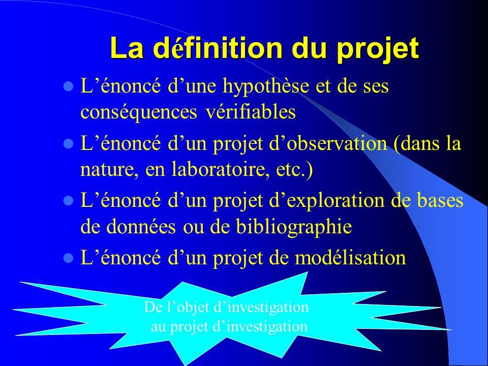 La d é finition du projet Lénoncé dune hypothèse et de ses conséquences vérifiables Lénoncé dun projet dobservation (dans la nature, en laboratoire, e