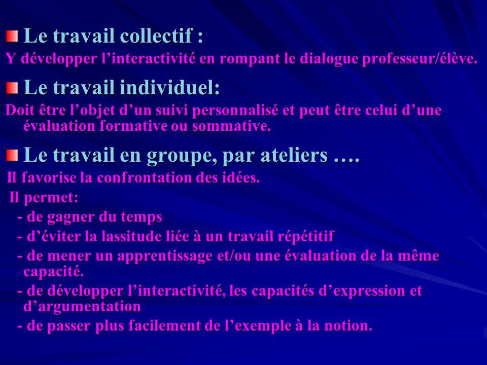Le travail collectif : Y développer linteractivité en rompant le dialogue professeur/élève.