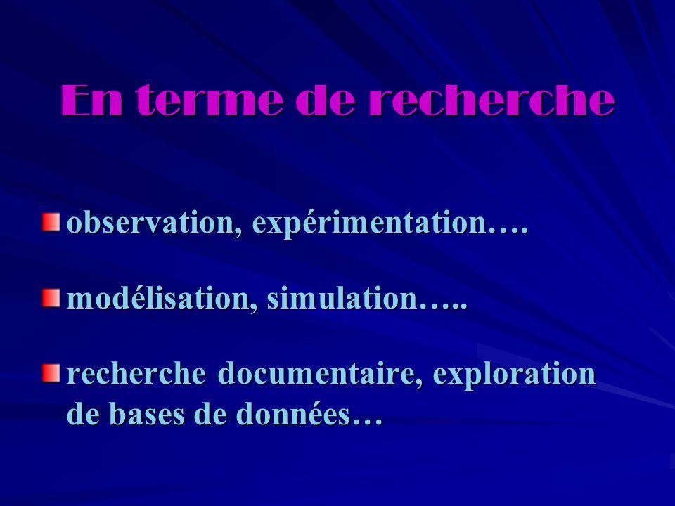En terme de recherche observation, expérimentation….
