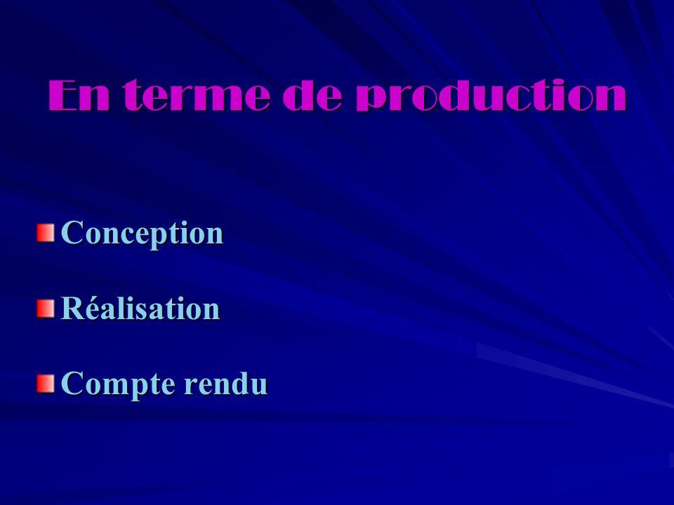 En terme de production ConceptionRéalisation Compte rendu