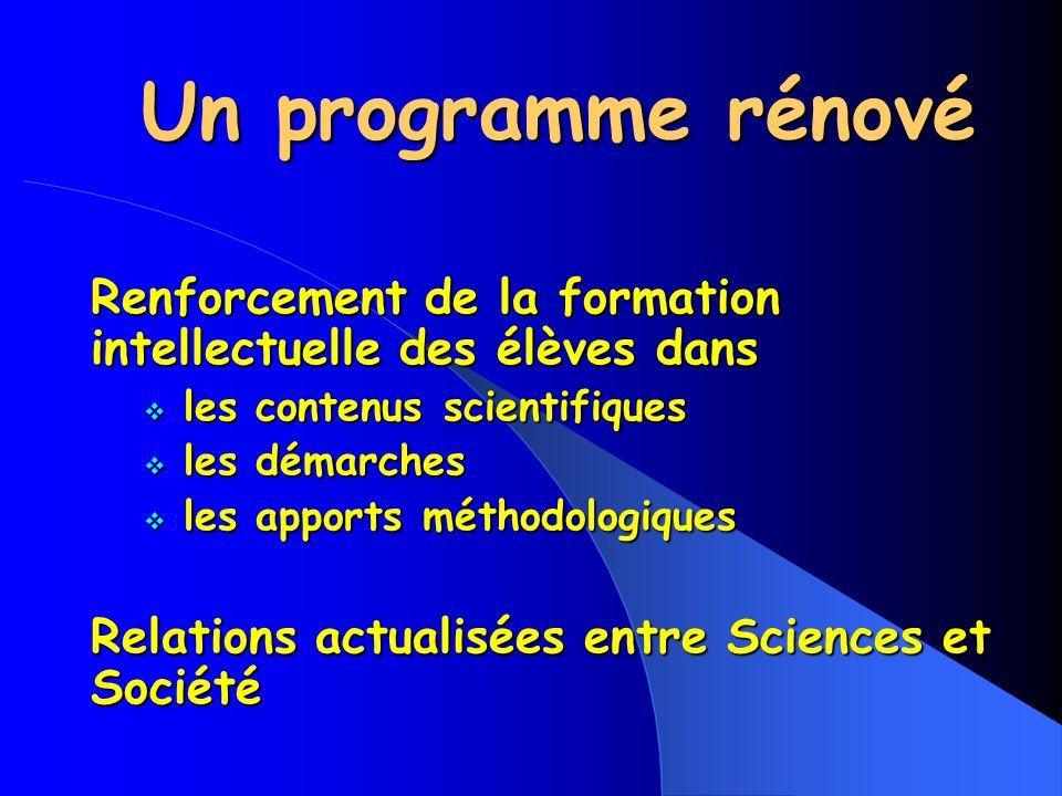Un programme rénové Un programme rénové Renforcement de la formation intellectuelle des élèves dans les contenus scientifiques les contenus scientifiques les démarches les démarches les apports méthodologiques les apports méthodologiques Relations actualisées entre Sciences et Société