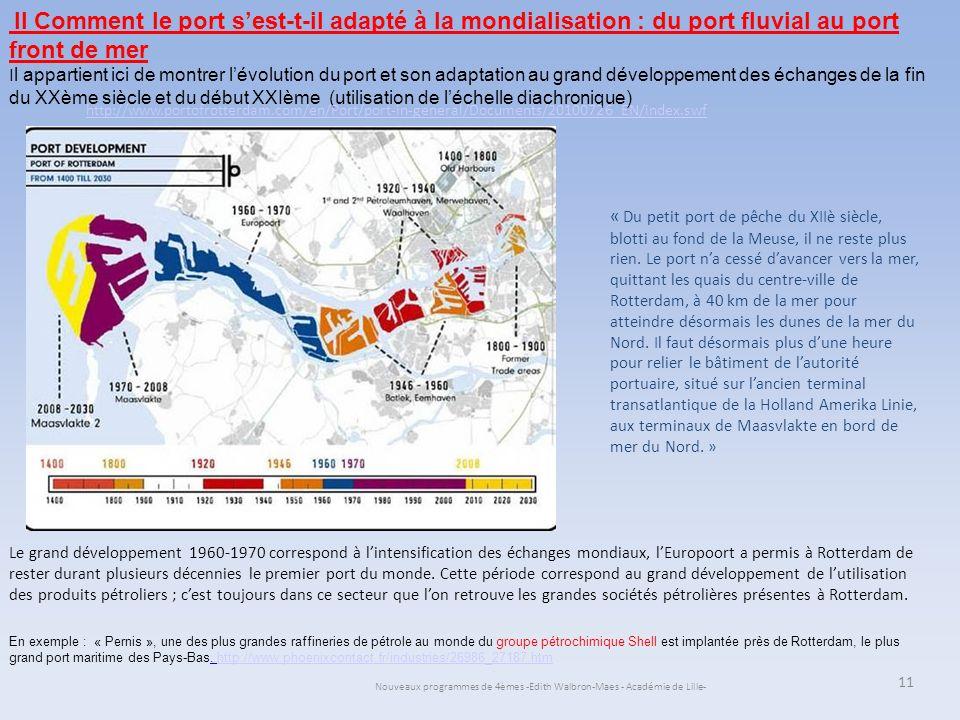 Nouveaux programmes de 4èmes -Edith Walbron-Maes - Académie de Lille- 11 II Comment le port sest-t-il adapté à la mondialisation : du port fluvial au
