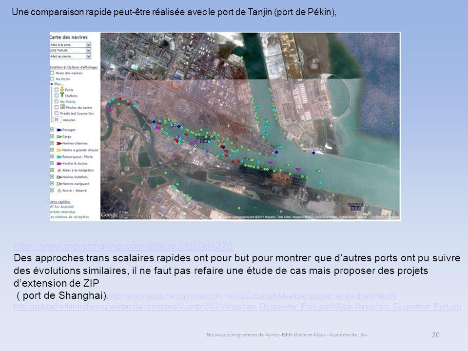 Nouveaux programmes de 4èmes -Edith Walbron-Maes - Académie de Lille- 20 Une comparaison rapide peut-être réalisée avec le port de Tanjin (port de Pék