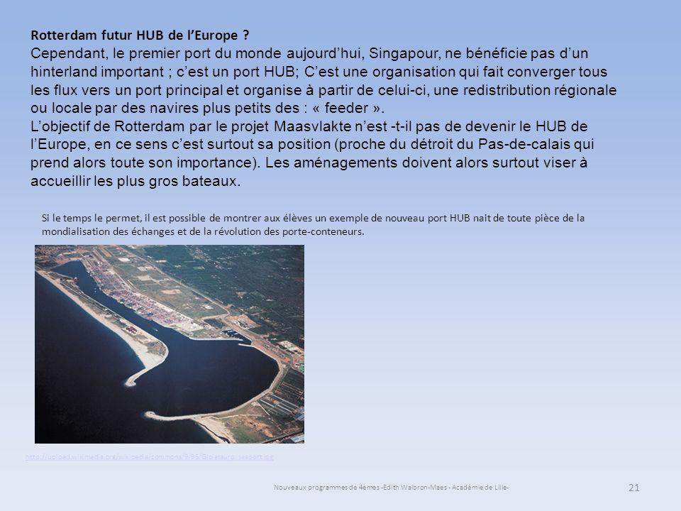 Nouveaux programmes de 4èmes -Edith Walbron-Maes - Académie de Lille- 21 Rotterdam futur HUB de lEurope ? Cependant, le premier port du monde aujourdh