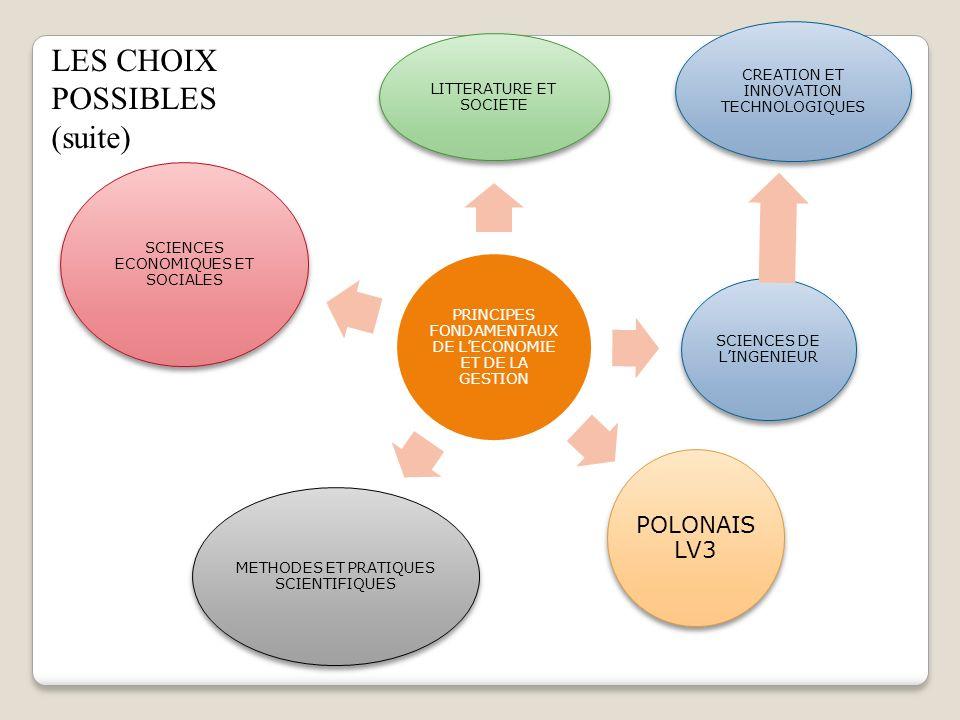 PRINCIPES FONDAMENTAUX DE LECONOMIE ET DE LA GESTION LITTERATURE ET SOCIETE SCIENCES DE LINGENIEUR POLONAIS LV3 METHODES ET PRATIQUES SCIENTIFIQUES SC
