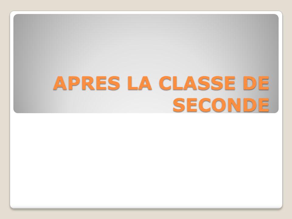 APRES LA CLASSE DE SECONDE