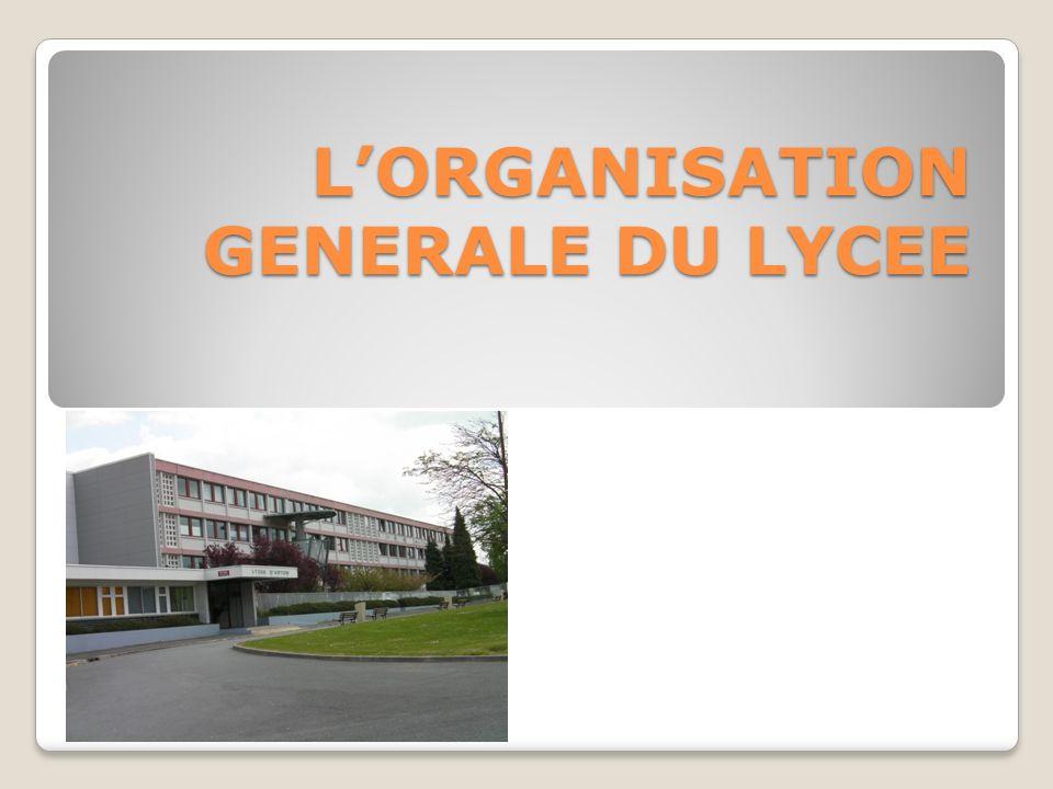 LORGANISATION GENERALE DU LYCEE