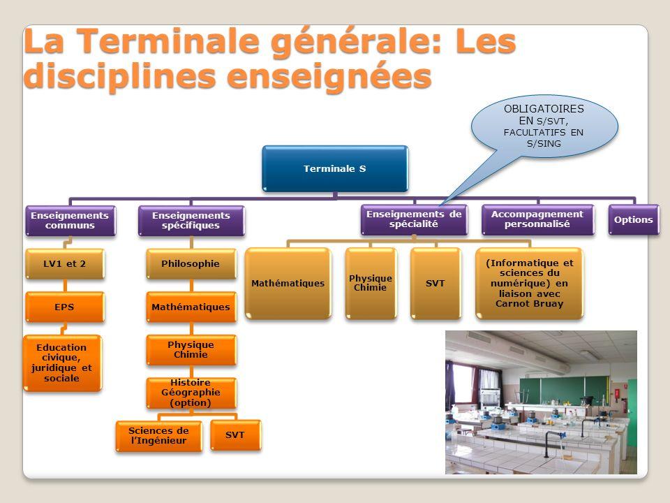 La Terminale générale: Les disciplines enseignées Terminale S Enseignements communs LV1 et 2EPS Education civique, juridique et sociale Enseignements