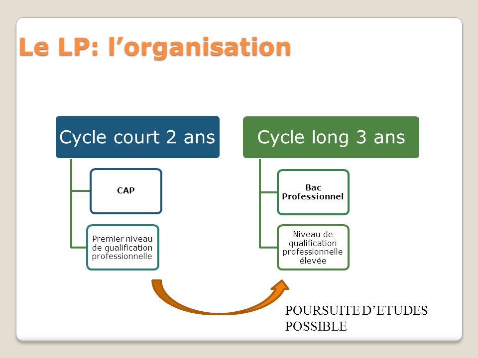 Le LP: lorganisation Cycle court 2 ans CAP Premier niveau de qualification professionnelle Cycle long 3 ans Bac Professionnel Niveau de qualification
