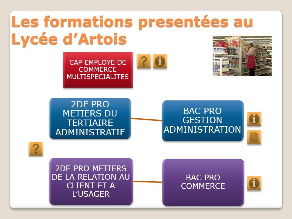 Les formations presentées au Lycée dArtois 2DE PRO METIERS DE LA RELATION AU CLIENT ET A LUSAGER BAC PRO COMMERCE 2DE PRO METIERS DU TERTIAIRE ADMINIS