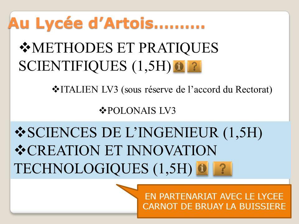 Au Lycée dArtois………. SCIENCES DE LINGENIEUR (1,5H) CREATION ET INNOVATION TECHNOLOGIQUES (1,5H) EN PARTENARIAT AVEC LE LYCEE CARNOT DE BRUAY LA BUISSI