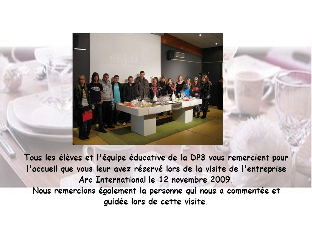 Tous les élèves et l'équipe éducative de la DP3 vous remercient pour l'accueil que vous leur avez réservé lors de la visite de l'entreprise Arc Intern