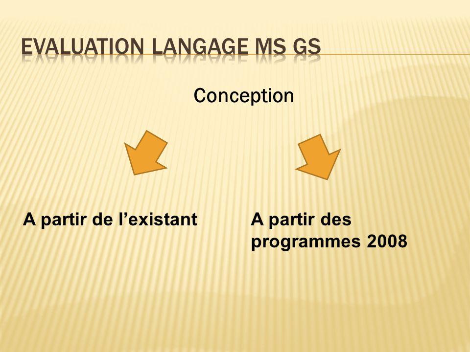 Conception A partir de lexistantA partir des programmes 2008