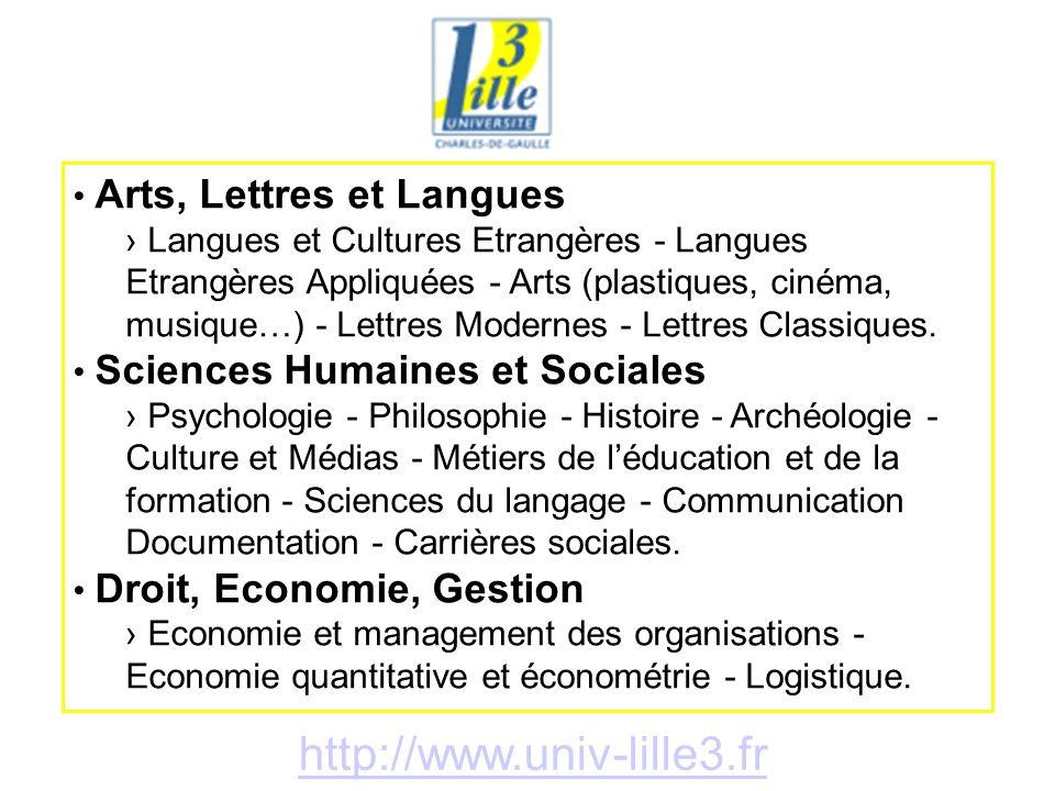 http://www.univ-lille3.fr Arts, Lettres et Langues Langues et Cultures Etrangères - Langues Etrangères Appliquées - Arts (plastiques, cinéma, musique…