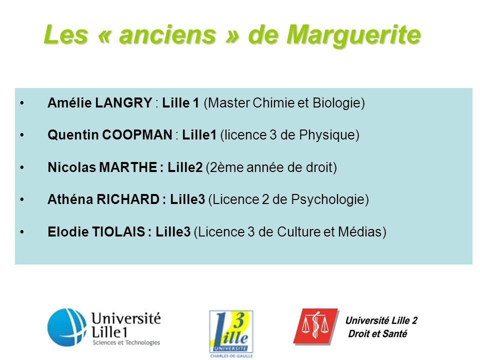 Les « anciens » de Marguerite Amélie LANGRY : Lille 1 (Master Chimie et Biologie) Quentin COOPMAN : Lille1 (licence 3 de Physique) Nicolas MARTHE : Li