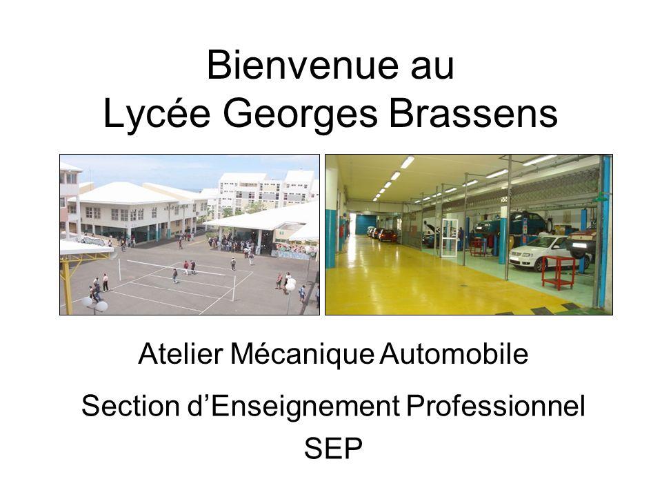 Bienvenue au Lycée Georges Brassens Section dEnseignement Professionnel SEP Atelier Mécanique Automobile