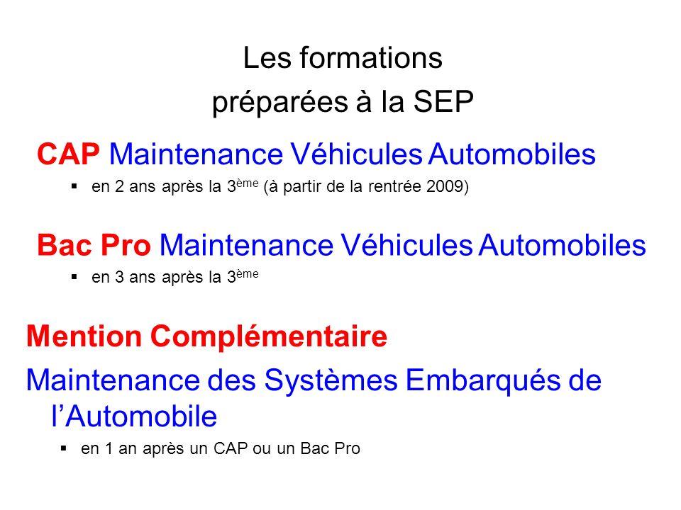 Les formations préparées à la SEP CAP Maintenance Véhicules Automobiles en 2 ans après la 3 ème (à partir de la rentrée 2009) Bac Pro Maintenance Véhi