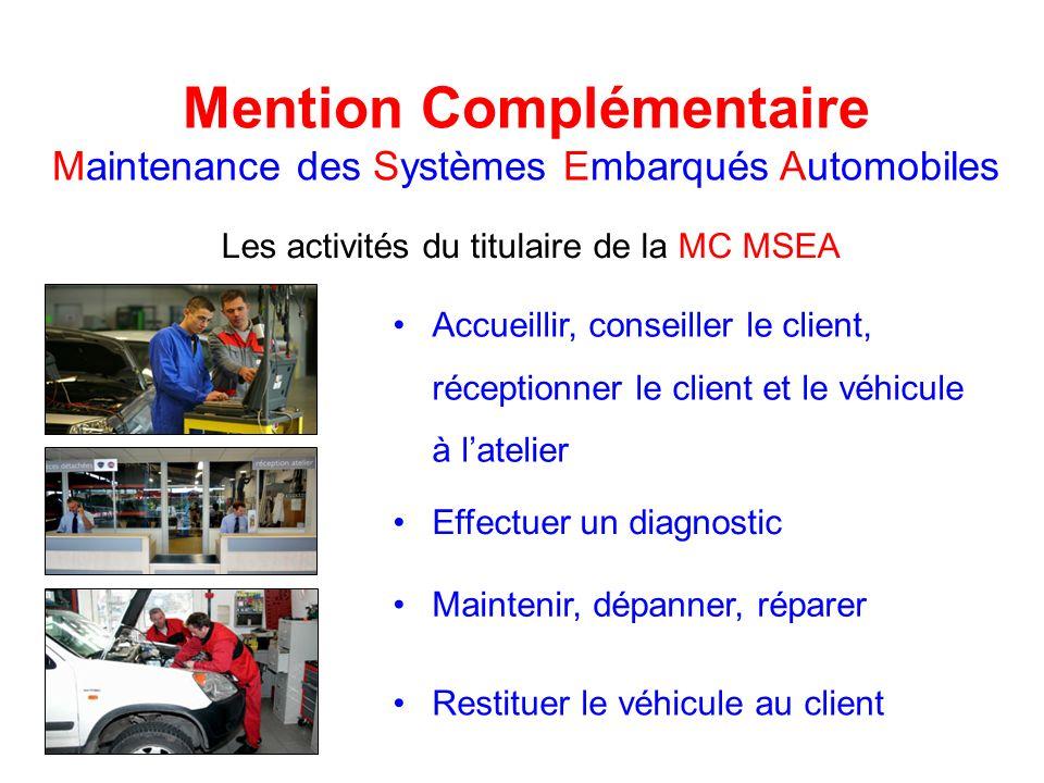Mention Complémentaire Maintenance des Systèmes Embarqués Automobiles Les activités du titulaire de la MC MSEA Accueillir, conseiller le client, récep