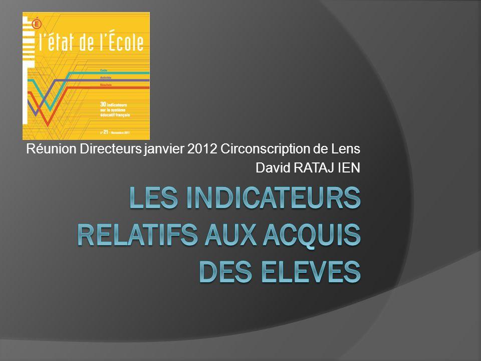 Réunion Directeurs janvier 2012 Circonscription de Lens David RATAJ IEN