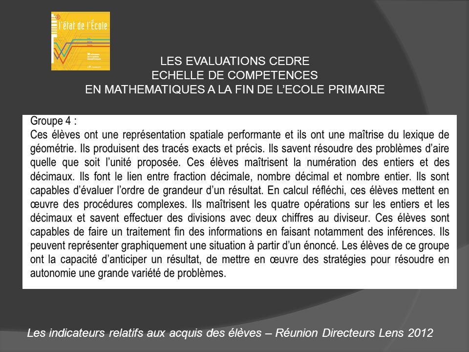 Les indicateurs relatifs aux acquis des élèves – Réunion Directeurs Lens 2012 LES EVALUATIONS CEDRE ECHELLE DE COMPETENCES EN MATHEMATIQUES A LA FIN D