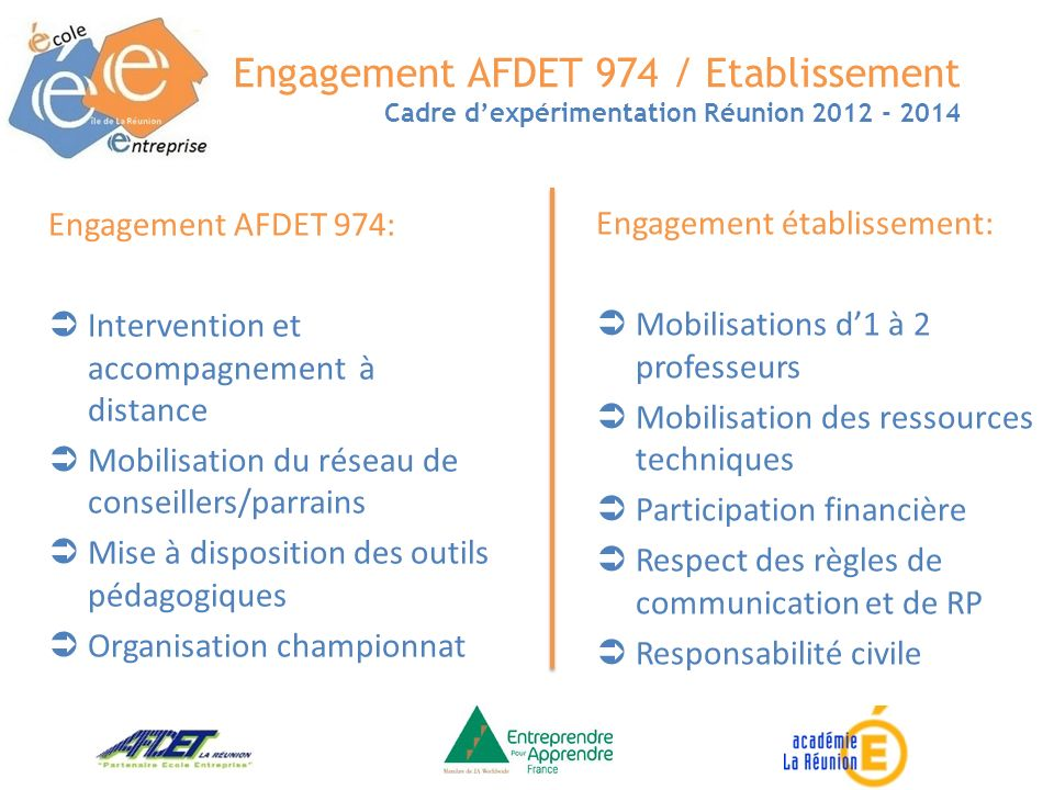 Engagement AFDET 974 / Etablissement Cadre dexpérimentation Réunion 2012 - 2014 Engagement AFDET 974: Intervention et accompagnement à distance Mobili