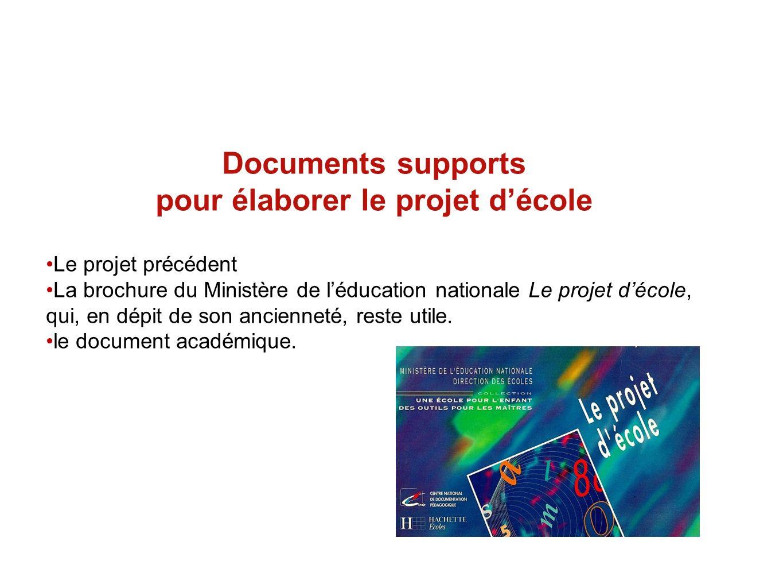 Documents supports pour élaborer le projet décole Le projet précédent La brochure du Ministère de léducation nationale Le projet décole, qui, en dépit