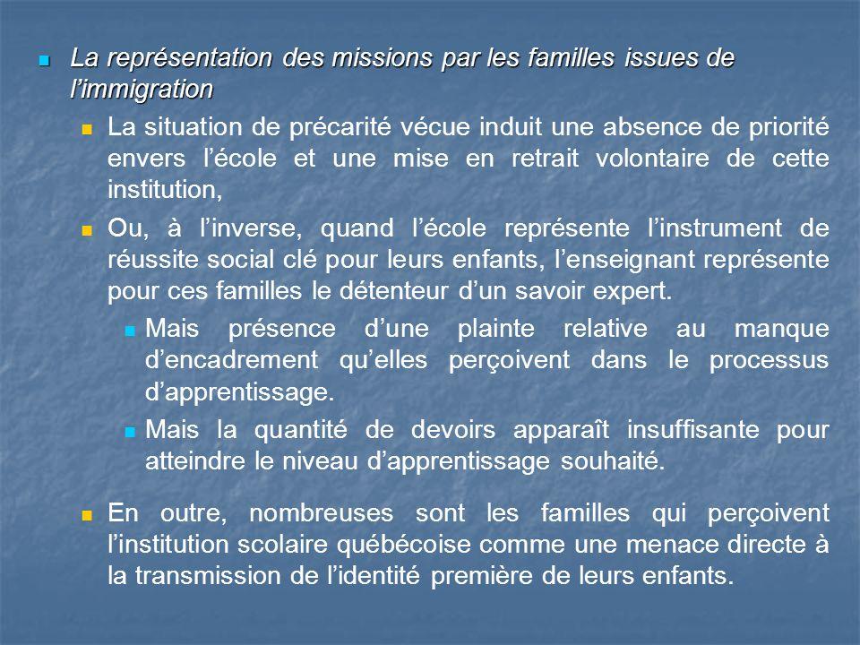 La représentation des missions par les familles issues de limmigration La représentation des missions par les familles issues de limmigration La situa