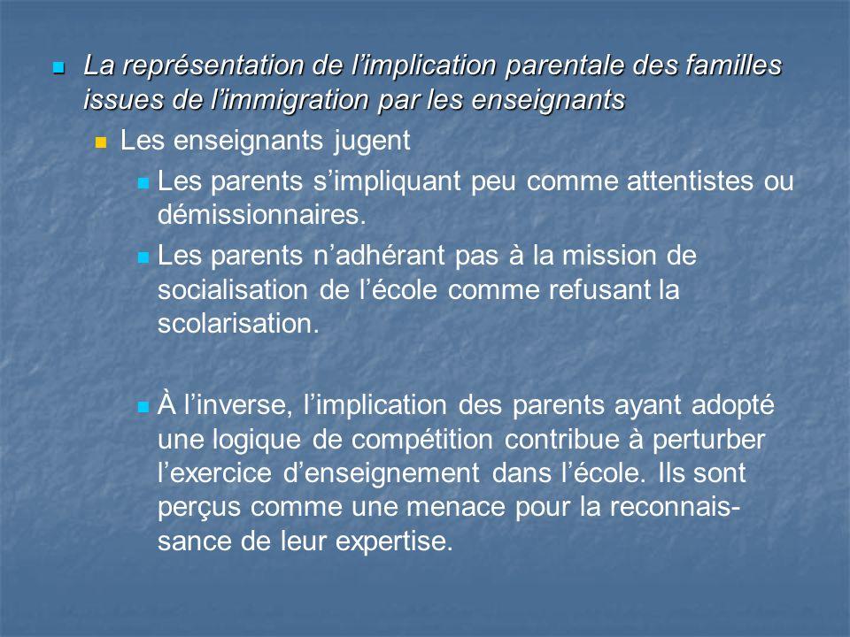 La représentation de limplication parentale des familles issues de limmigration par les enseignants La représentation de limplication parentale des fa