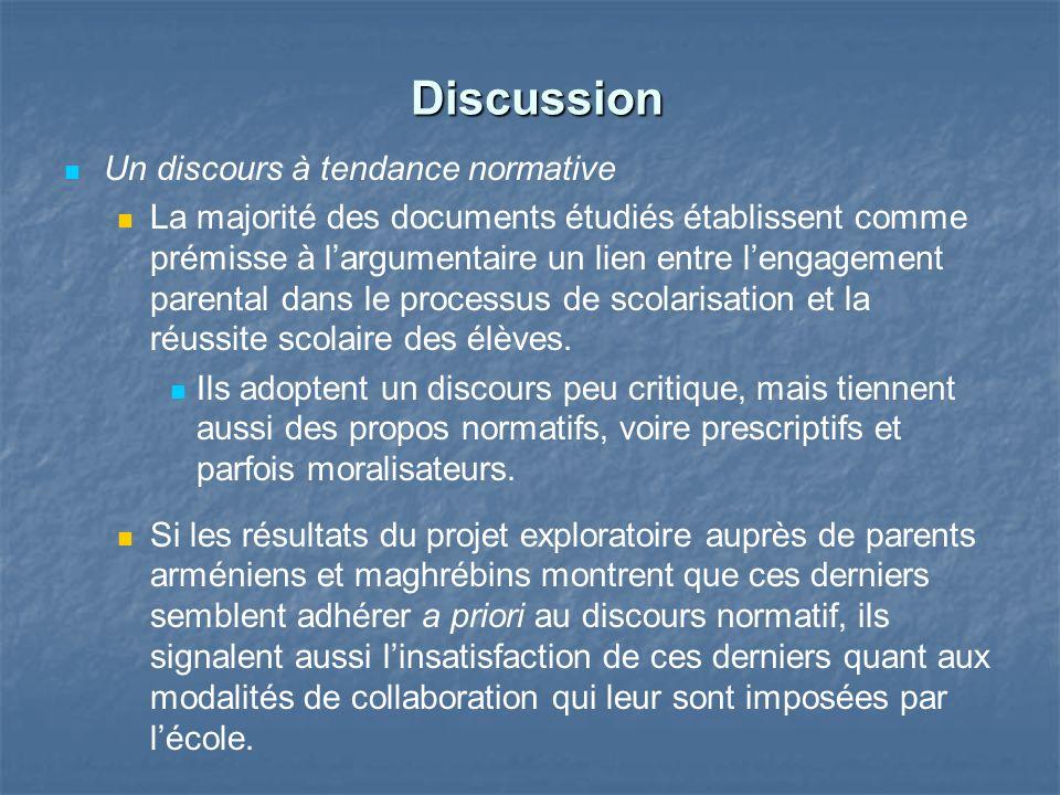 Discussion Discussion Un discours à tendance normative La majorité des documents étudiés établissent comme prémisse à largumentaire un lien entre leng