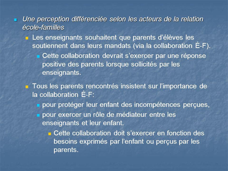 Une perception différenciée selon les acteurs de la relation école-familles Une perception différenciée selon les acteurs de la relation école-famille