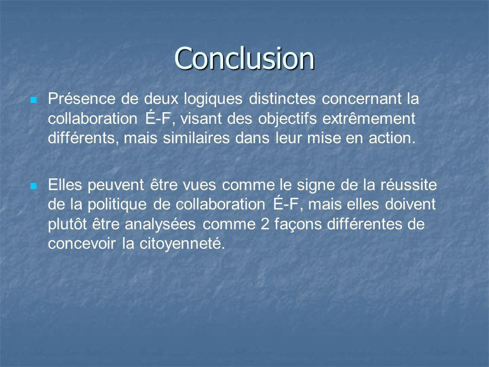 Conclusion Présence de deux logiques distinctes concernant la collaboration É-F, visant des objectifs extrêmement différents, mais similaires dans leu