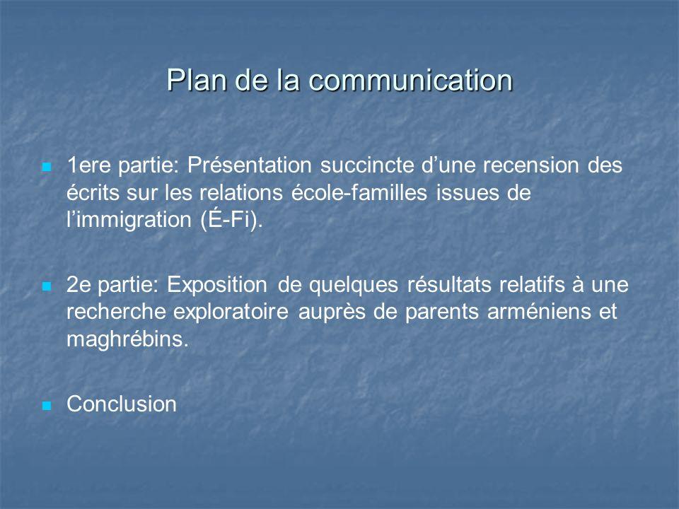 Plan de la communication 1ere partie: Présentation succincte dune recension des écrits sur les relations école-familles issues de limmigration (É-Fi).