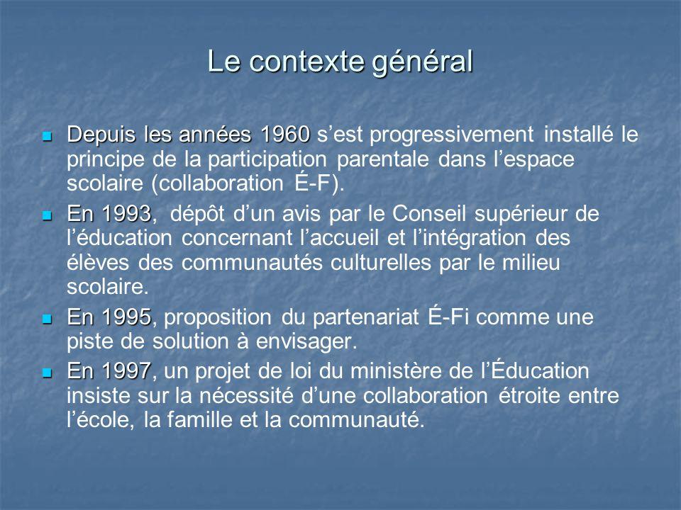 Le contexte général Depuis les années 1960 Depuis les années 1960 sest progressivement installé le principe de la participation parentale dans lespace