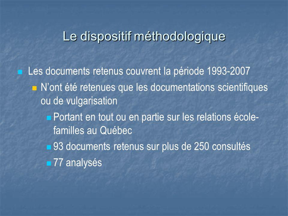 Les documents retenus couvrent la période 1993-2007 Nont été retenues que les documentations scientifiques ou de vulgarisation Portant en tout ou en p