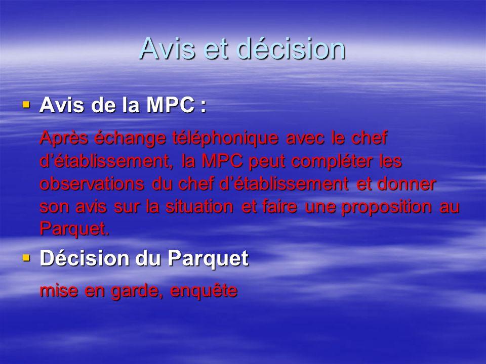 Avis et décision Avis de la MPC : Avis de la MPC : Après échange téléphonique avec le chef détablissement, la MPC peut compléter les observations du chef détablissement et donner son avis sur la situation et faire une proposition au Parquet.