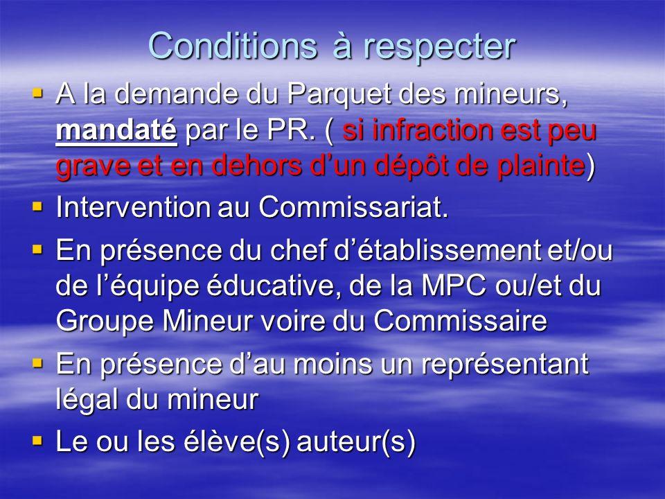 Conditions à respecter A la demande du Parquet des mineurs, mandaté par le PR.