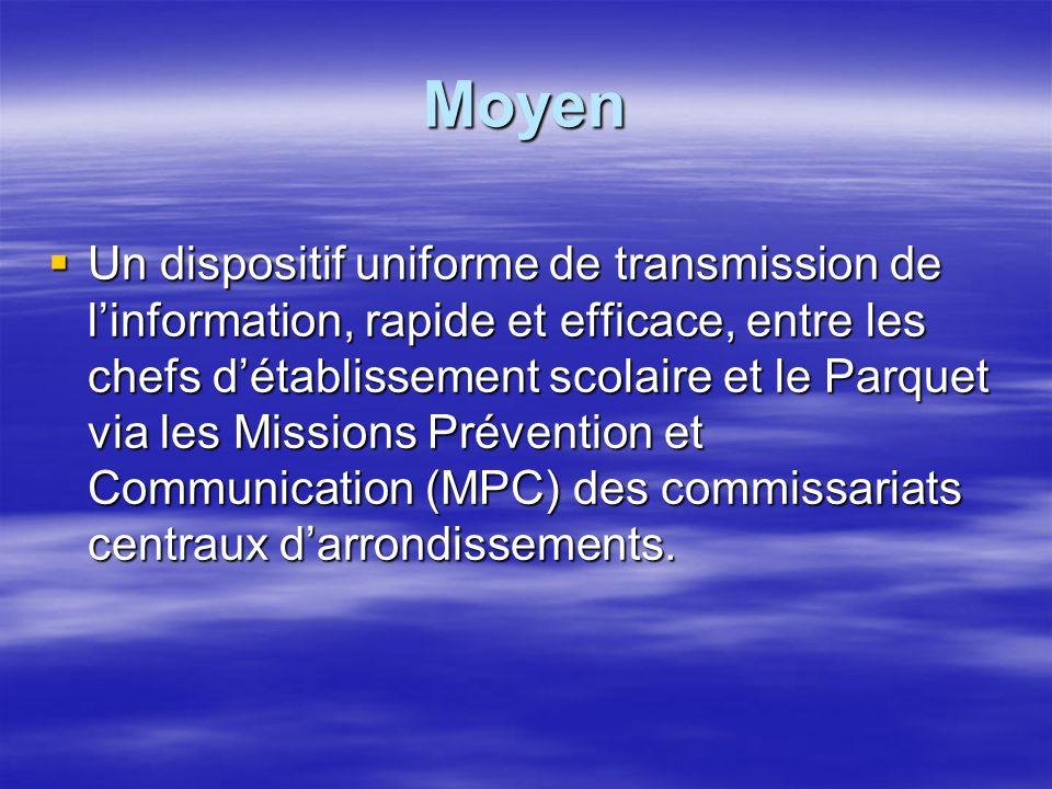 Moyen Un dispositif uniforme de transmission de linformation, rapide et efficace, entre les chefs détablissement scolaire et le Parquet via les Missions Prévention et Communication (MPC) des commissariats centraux darrondissements.